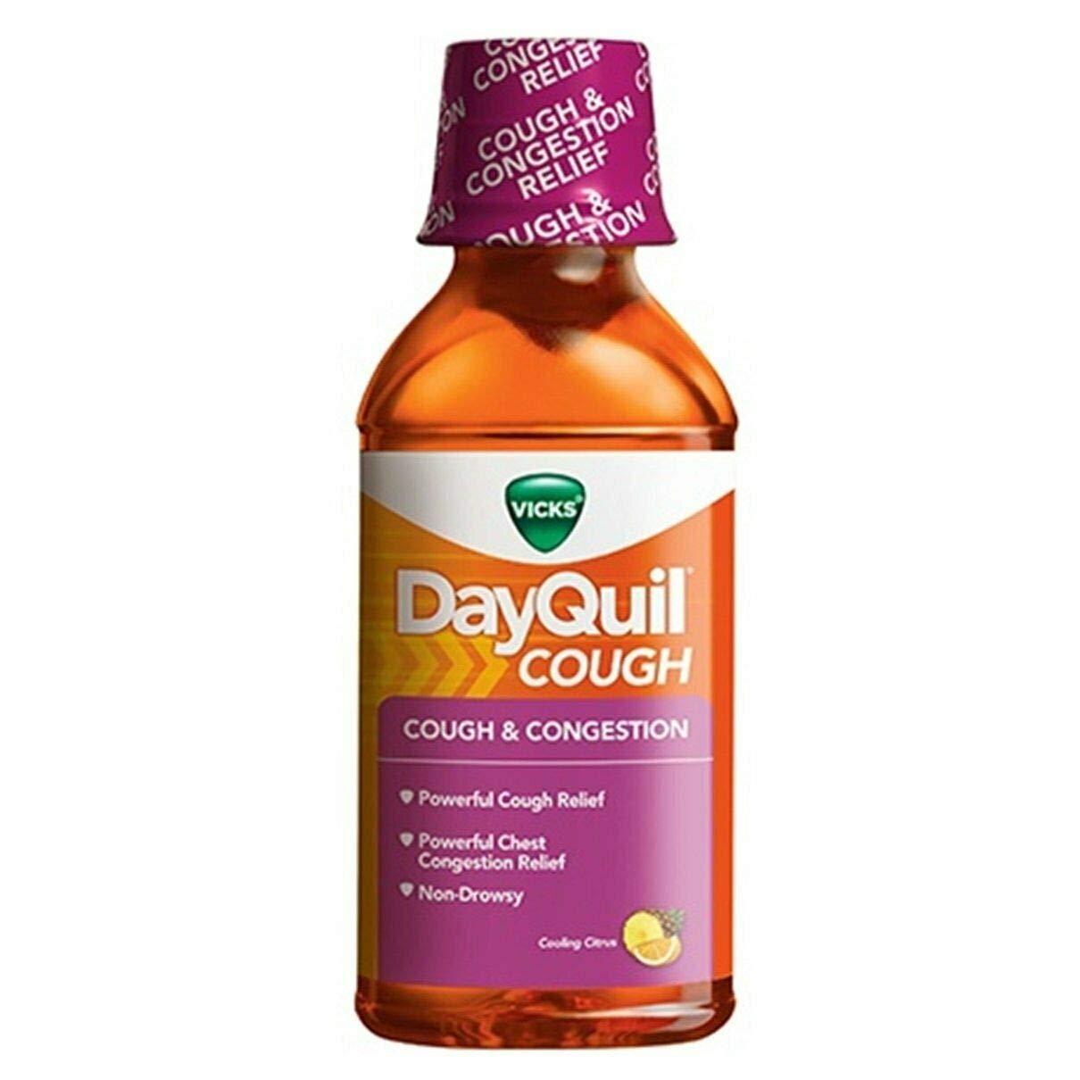 Vicks DayQuil Mucus Control Liquid Citrus Blend Flavor - 12 oz, Pack of 4