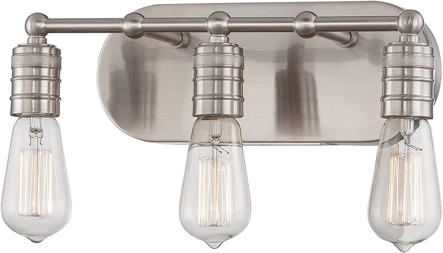 Minka Lavery Farmhouse Wall Light Fixtures 5135-84 Downtown Edison Wall Bath Vanity Lighting, 3-Light 120 Watts, Brushed Nickel