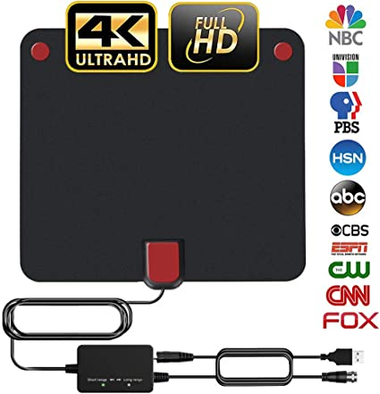 TV Antenna Amplified HD Digital TV Indoor Antenna Support 4K 1080P with Adjustable Amplifier Signal Booster 60-120 Miles Range Digital Antenna for HDTV Free View Channels