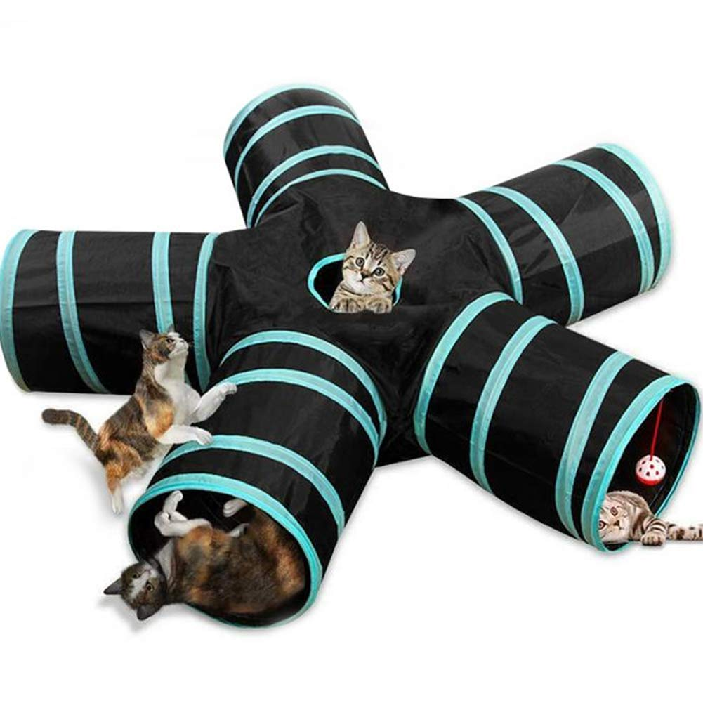 Collapsible Cat Tunnel Tube Kitty Tunnel with Interactive Cat Toy,Cat Tunnels for Indoor Cats,5 Way Pet Tunnel, Peek Hole for Cat, Puppy, Kitty, Kitten, Rabbit by PJDDP