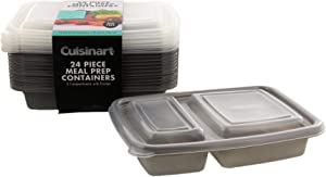 Cuisinart 2 Compartment Meal Prep Containers, 24 Piece, Set of 12 BPA Free Food Storage Containers with Lids-Reusable, Stackable Bento Box Containers-Microwave, Dishwasher, Freezer Safe-Gray, 25.36oz