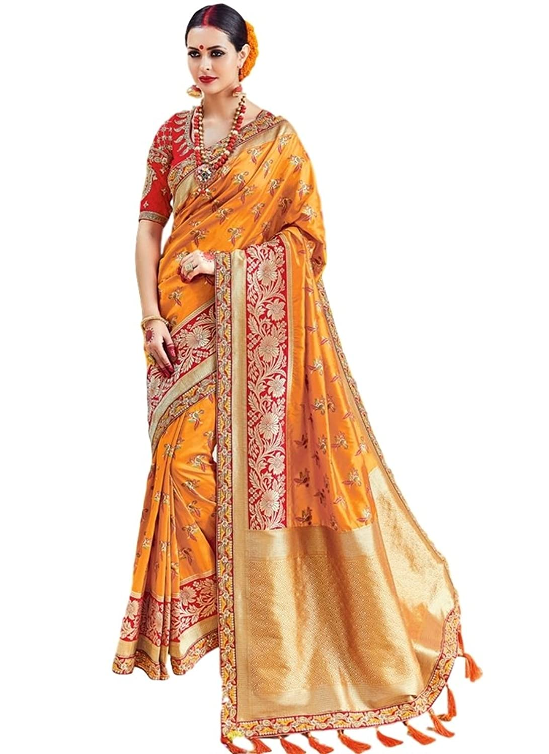 88515a3c08488d Style : Traditional Saree ; Occasion : Festival, Party, Wedding, Bridal  Fabric - Art Silk Work : Embroidered Patch Border Zari; Color : Mustard Saree  Blouse ...