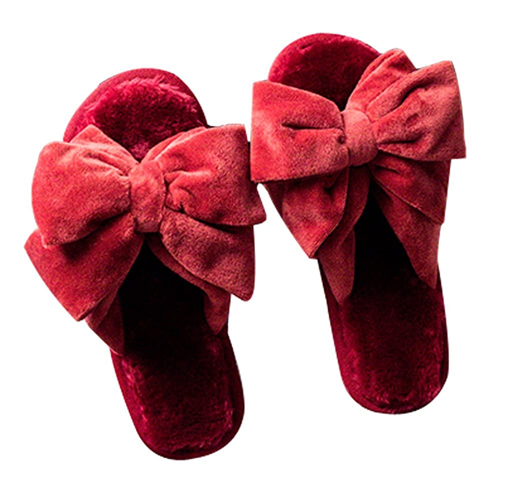 Big Bow House Indoor Slippers Furry Slippers