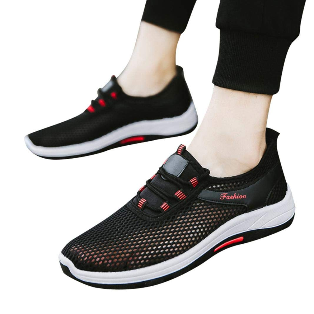 Shybuy Men & Women Quick Drying Mesh Athletic Water Shoes Casual Breathable Sneakers Sports Running Shoes (5.5, Black)