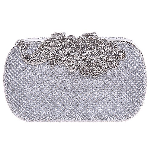 Fawziya Bling Peacock Clutch Purse Rhinestones Crystal Evening Clutch Bags-Silver