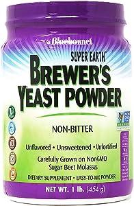 Bluebonnet Nutrition Super Earth Brewers Yeast Powder, Super Food, Whole Food, Source for Vitamins, Great Tasting, Vegan, Vegetarian, Non GMO, Gluten Free, Soy Free, Milk Free, Kosher, 1 lb