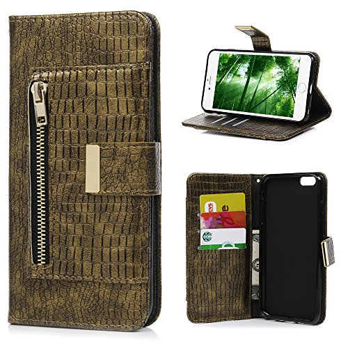 iPhone 6 Plus Case, iPhone 6S Plus Case, Zipper Wallet Case with Multi Card Slots Crocodile Lines PU Leather TPU Inner Stand Magnetic Flip Drop Resistance Lanyard Cover for iPhone 6/6s Plus, Gary Crocodile Embossed Leather Pen Stand