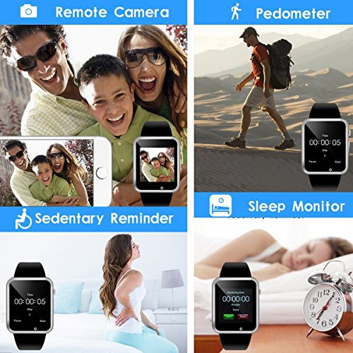 Aeifond Smart Watch Bluetooth Smartwatch Touch Screen Smart Wrist Watch Fitness Tracker with Camera Pedometer SIM TF Card Slot Compatible iPhone iOS Samsung Android for Kids Women Men (Black)