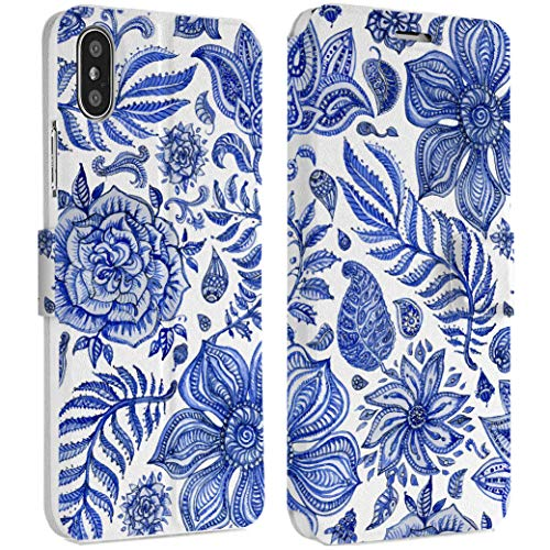Wonder Wild Gzhel Flowers IPhone Wallet Case X/Xs Xs Max Xr 7/8 Plus 6/6s Plus Card Holder Accessories Smart Flip Hard Design Protection Cover Painting Style Floral Ornament Paintbrush - Porcelain Phone Style