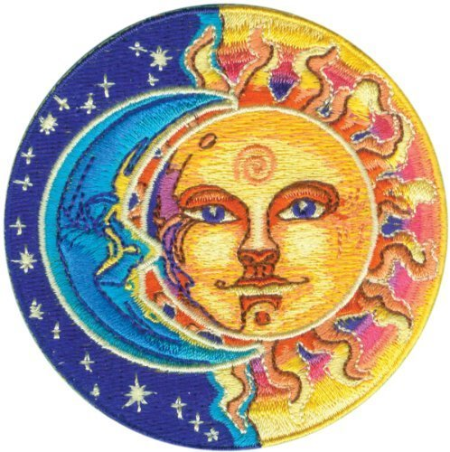 Applique Moon and Sun Half Blue and Half Yellow Patch by Application -  C&D Visionary Inc.