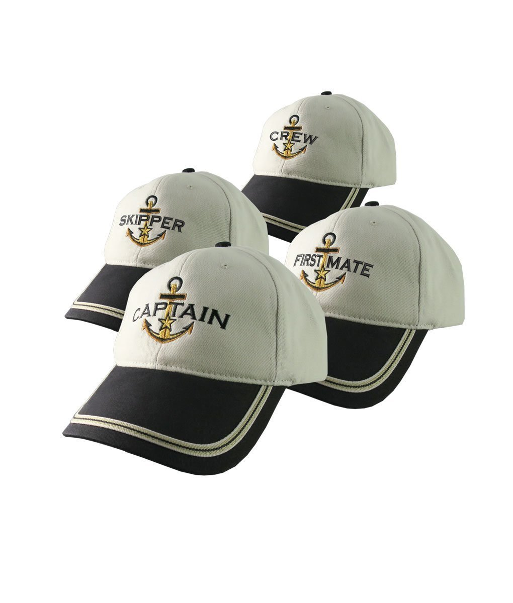 Nautical Star Anchor Captain and Crew Embroidery Adjustable Beige and Black Structured Baseball Cap Options to Personalize Boat Name
