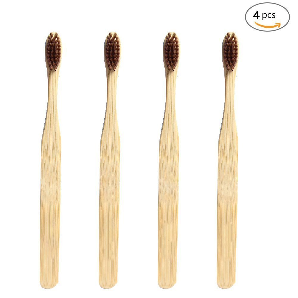 Bamboo Toothbrush Natural Wooden ECO Friendly Toothbrush Made with Bamboo Charcoal Infused Soft Bristles 12 Pcs G-smart