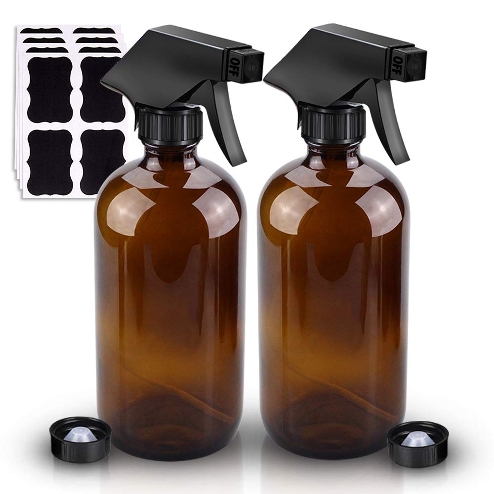 Glass Spray Bottle, Wedama Amber 2 16oz Glass Spray Bottle Accessories for Watering Flowers Cleaning