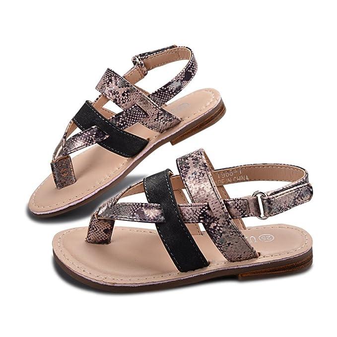 Niños sandalias de verano para niñas planas con abrigo de tobillo niñas sandalias de playa zapatos de niños sandalia niños goma de la PU: Amazon.es: Ropa y ...