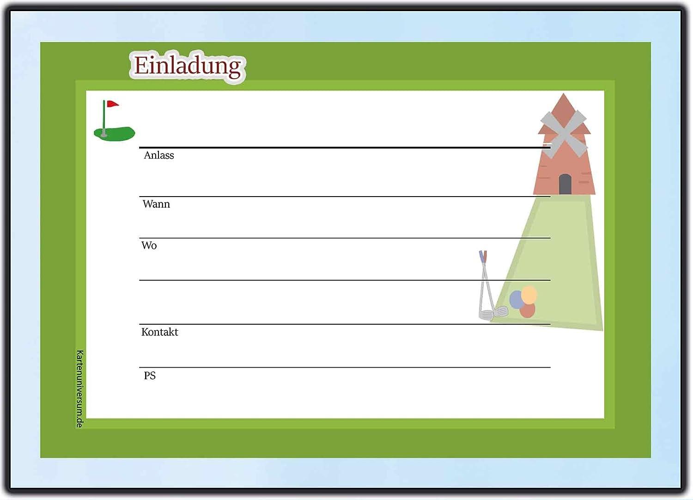 MINI Golf Einladungskarten Einladungen Ausflug Party  Geburtstagseinladungen: Amazon.de: Bürobedarf U0026 Schreibwaren