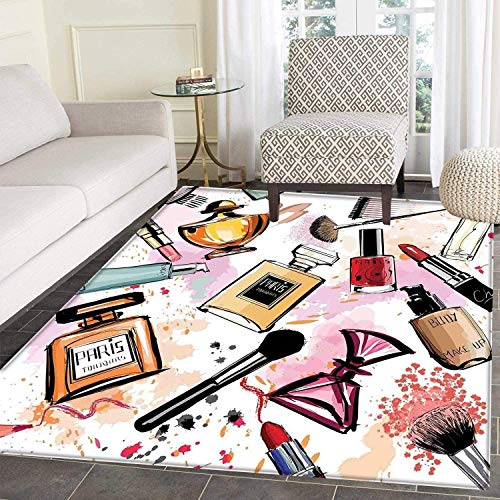 (Girls Rugs for Bedroom Cosmetic and Makeup Theme Pattern with Perfume Lipstick Nail Polish Brush Modern Lady Circle Rugs for Living Room 4'x5' Multicolor)