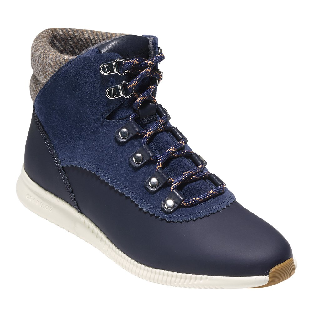 Cole Haan Women's 2 Zerogrand Waterproof Hiker Boot B076DNNK4W 5 B(M) US|Marine Blue Leather Suede/Brown Gray Wool/Ivory