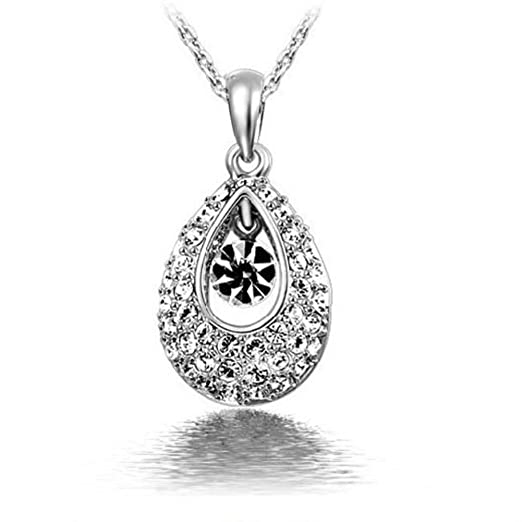 New Women Angel Tears Gold Plated Crystal Water Droplets Pendant Necklace White