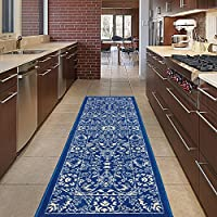 Diagona Designs Contemporary Oriental Mahal Design Non-Slip Kitchen/Bathroom/Hallway Area Rug Runner, 20 W x 59 L, Navy/Ivory