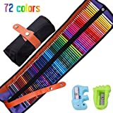 Colored Pencils Set - Vivid Watercolor Pencils Set with Portable Roll-Up Canvas Carry Case, Ideal for Adults, Artists, Sketchers & Children Coloring Books & Art Pages etc, Two Sharpeners Included (50)