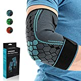 Elbow Brace for Tendonitis, Yakaon 2 pcs Best Compression Elbow Support Sleeve with Adjustable Strap Arm Sleeve, Tennis Elbow for Pain Relief, for Weightlifting Basketball Golf Men Women - Blue Men Women - Blue Medium