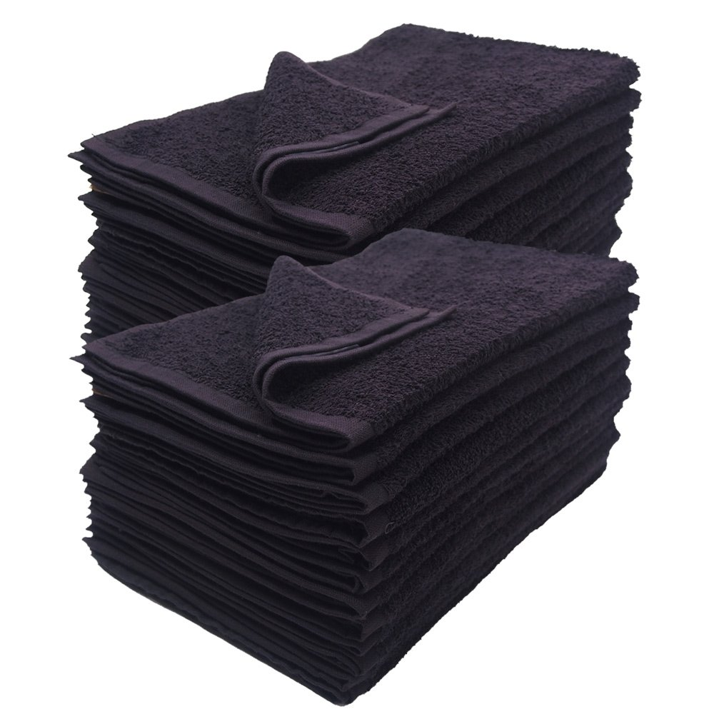 Groko Textiles Black Bleach Proof Towels Set, 24 Pack 100% Cotton 16'' X 27'' Color safe, Stain Resistant, Quick Drying Towels for Beauty, Hair and Nail Salon, Gym, Spa and Home Hair Care by GroKo Textiles (Image #1)