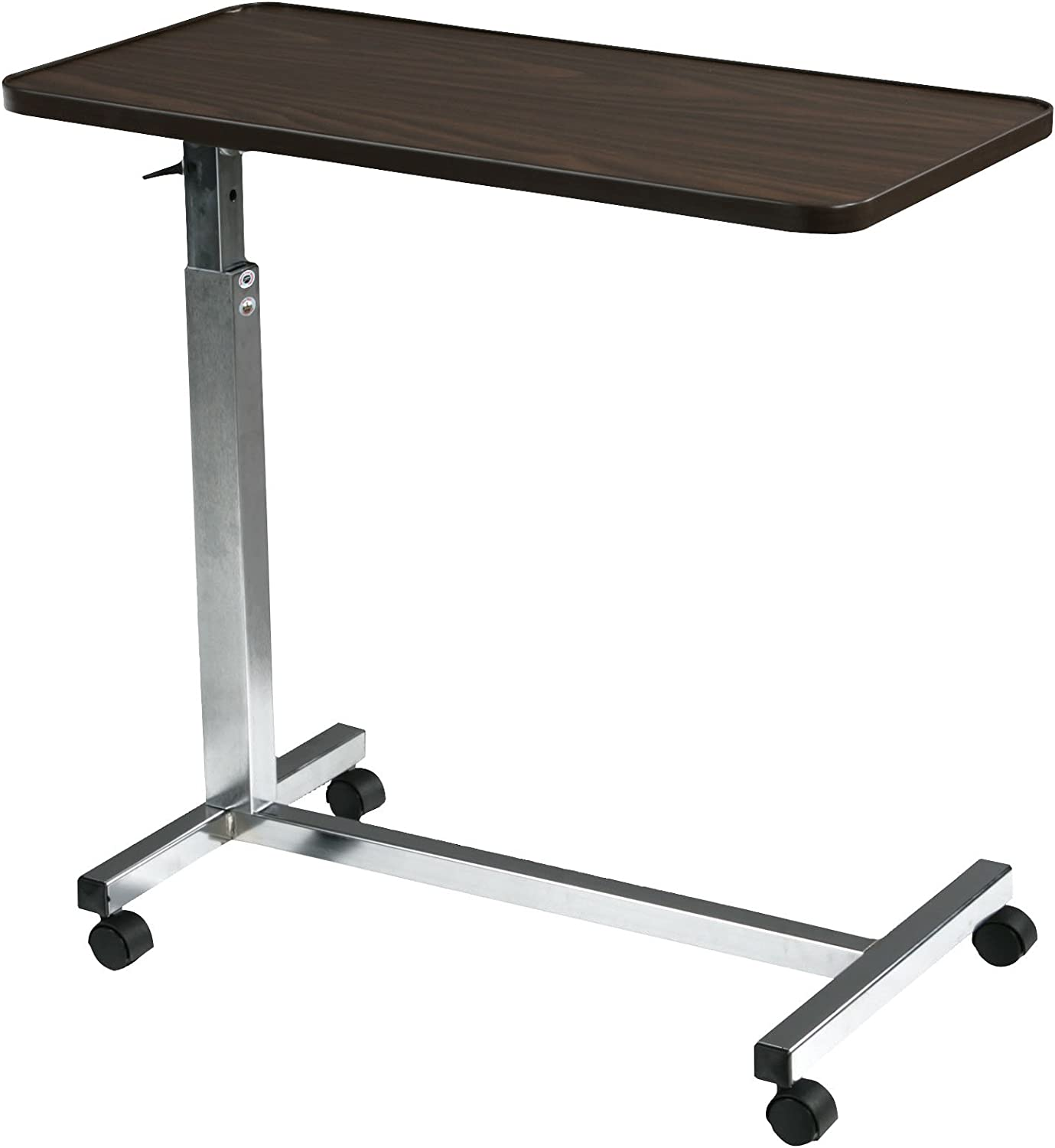 H-Base Chrome-Plated Frame Drive Non-Tilt Overbed Table Walnut 30 x 15 Top