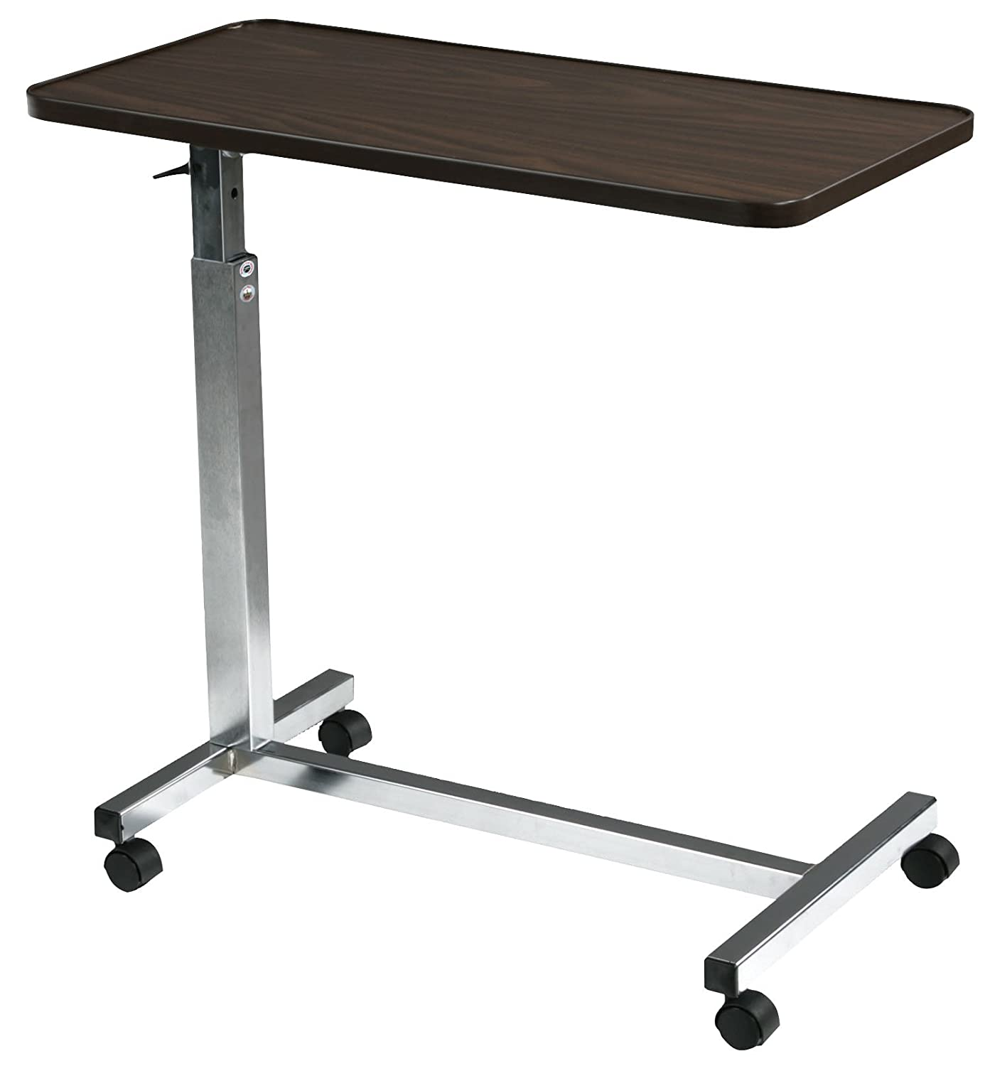 Overbed table food tray non tilt top bed hospital adjustable rolling - Amazon Com Drive Medical Non Tilt Top Overbed Table Chrome Health Personal Care