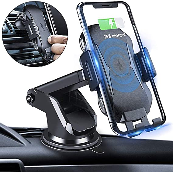 LG G7//G6 Samsung Galaxy S9//S9+//Note 9 and Qi-Compatible Devices Davipro 4351542104 10W QI Fast Wireless Charger Car Mount Air Vent Phone Holder Cradle for Apple iPhone XR//iPhone Xs//X//iPhone Xs Max
