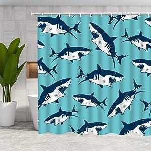 DMTTY Shark Shower Curtain Nautical Pattern Sharp Teeth Shark Bathroom Curtain 72x72 Inches Blue Fabric Bathroom Accessories Polyester with Hooks