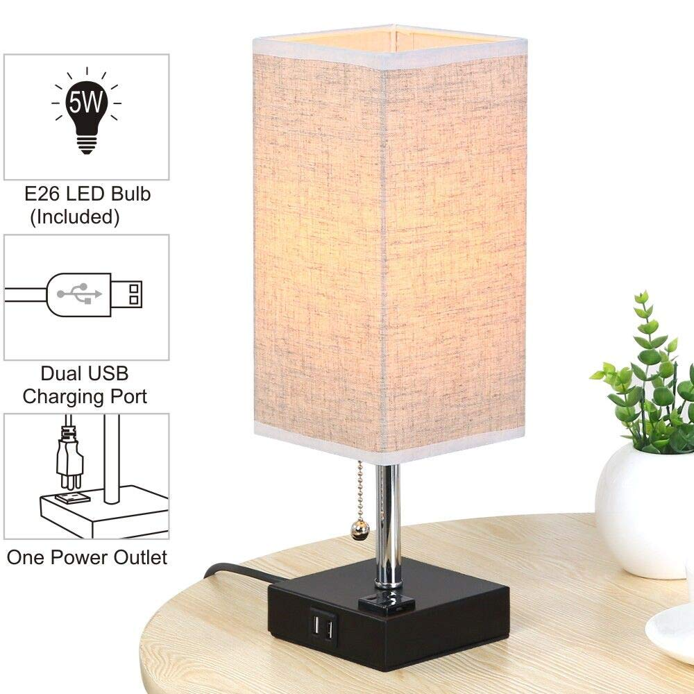 Lifeholder Table Lamp, Nightstand Lamp Built in Dual USB Charging Port and One Power Outlet, Black Iron Base USB Lamp with Warm White LED Bulb, Modern Square USB Table Lamp Perfect for Bedroom, Living