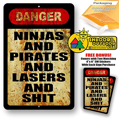 Danger Ninjas and Pirates Lasers S##T Man Cave Metal Decor Tin Sign Indoor Outdoor use 8