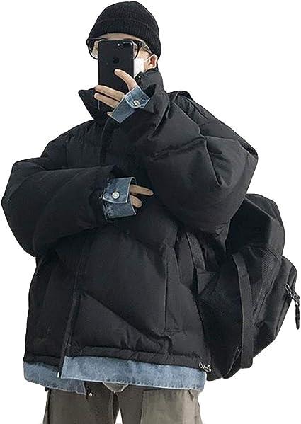 Ellteメンズ 中綿ジャケット ゆったり 厚手 ファッション 通学 メンズ レイヤードフェイク綿入り デニム 黒 スタンドカラー カジュアル アウター 綿入れ キルティングジャケット 綾織 秋 冬