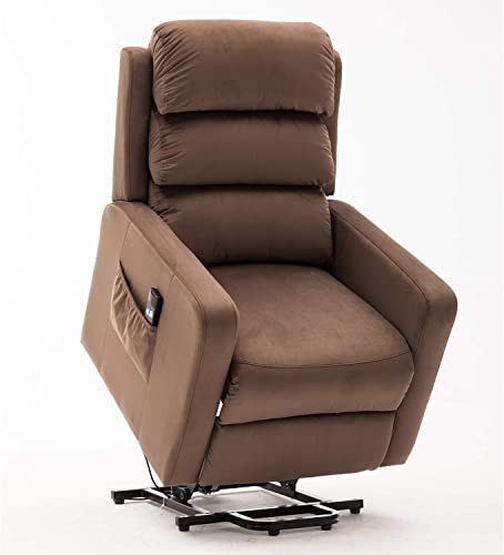 Bonzy Home Power Lift Recliner Chair Velvet Fabric Electric Recliner with Remote Control – Bedroom Living Room Chair Recliner Sofa for Elderly Brown