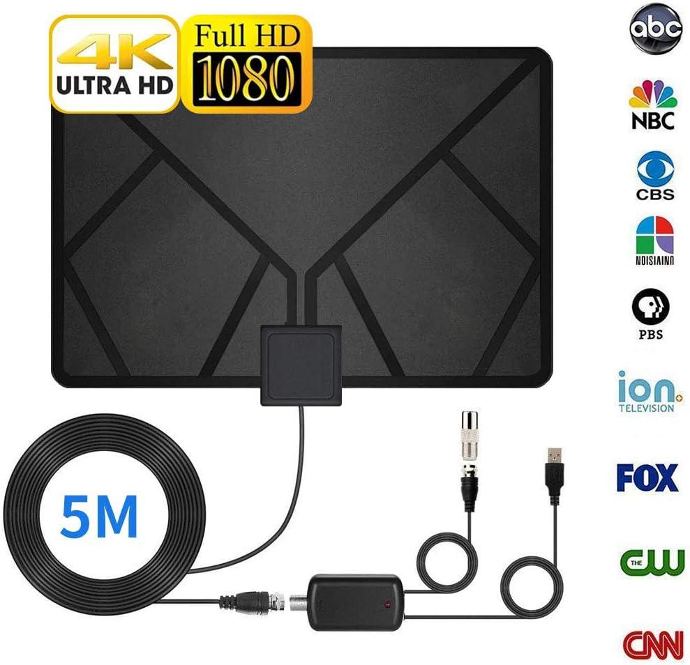 Zomiee HDTV Antena, Antena de interior, antena de TV de 60 a 90 millas con soporte 4K 1080p/ATSC y TV de todas las edades para interiores con potente amplificador de señal HDTV