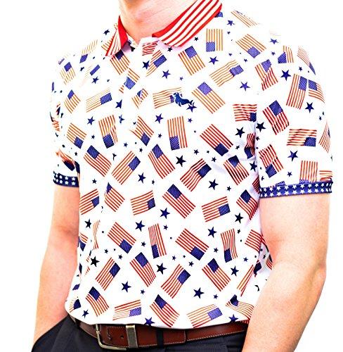 Haven Harbors Mens American Flag Polo Shirt
