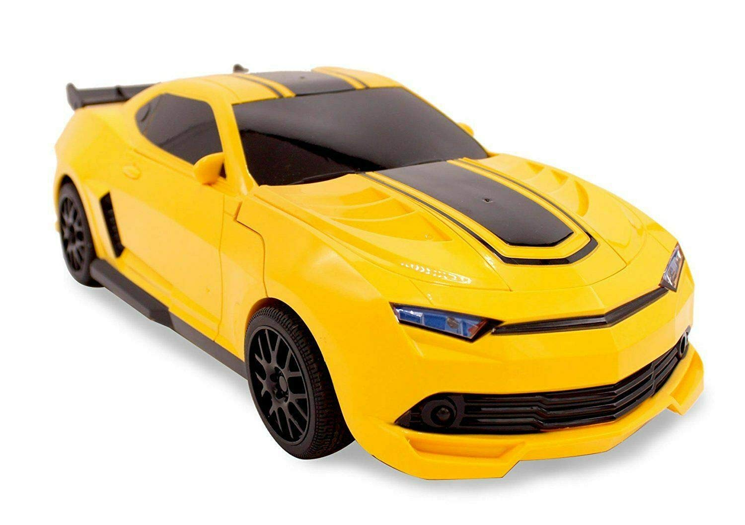 Kids RC Toy Sports Car Transforming Robot Remote Control with One Button Transformation, Realistic Engine Sounds, 360 Speed Drifting, Sword and Shield Included Toys For Boys 1:14 Scale Yellow by Transformania Toys (Image #2)