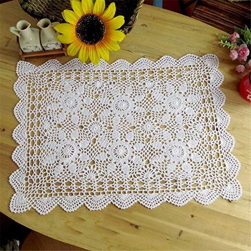 Saideke Home Oblong Cotton Lace Crocheted Doilies, 2pc Set White,15 x 23 inch ()