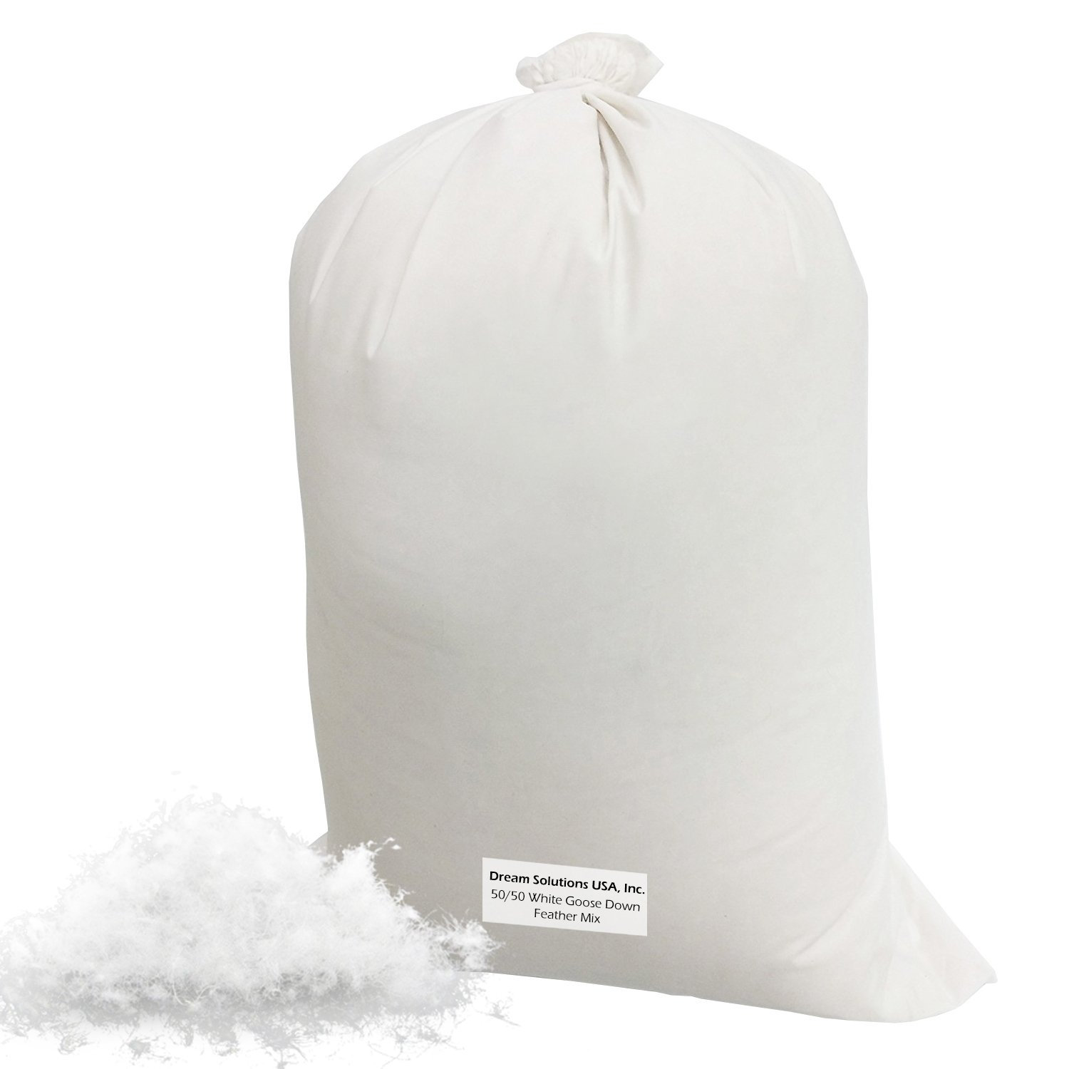Dream Solutions USA Brand Bulk Goose Down Pillow Feathers - Most popular Mix 50/50 White (1 LB) - Fill Comforters, Pillows, Jackets and More - Ultra-Plush Hungarian Softness 5050WGDF1LB