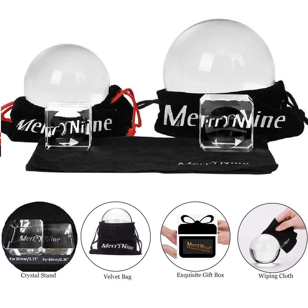 MerryNine Professional Photography Crystal Ball, K9 Crystal Glass Ball with Pouch (60mm + 80mm, with Stand) by MerryNine