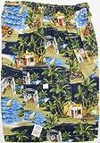 Boy's Shorts - Shave Ice Shack Haleiwa Bridge Elastic Waistband Inside Drawcord Cotton Flap Pocket Shorts in Navy Blue - 14