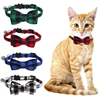 SLSON 4 Pack Cat Collars Breakaway with Bell Plaid Cat Collars with Cute Bow Tie for Pet Kitten Cats Adjustable from 8…