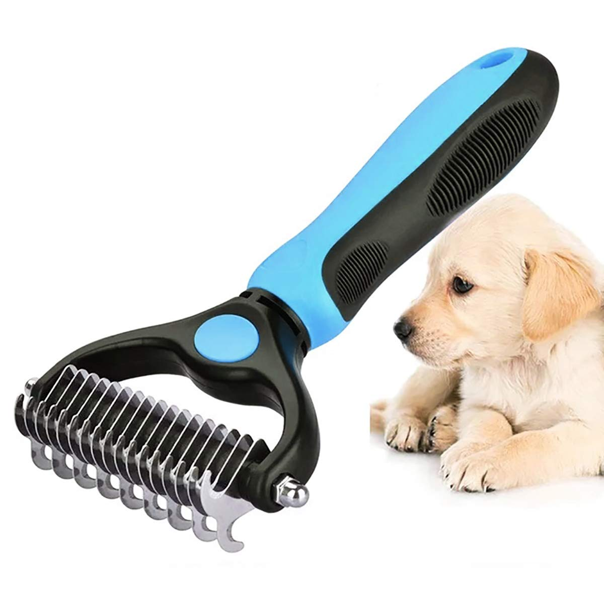 WU CHUNLING Dog Grooming and Dematting Comb 2 Sided Undercoat Rake for Dogs & Cats with Medium & Long Hair Pet Detangler Tool, Dog Brushes for Shedding, Blue by WU CHUNLING
