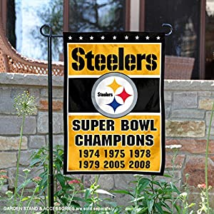 Pittsburgh Steelers 6 Time Super Bowl Champions Double Sided Garden Flag at SteelerMania