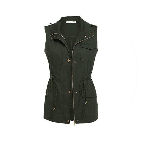 2b8f1bac2 Amazon.com : Women Vest Coat Sleeveless Vest Jacket Casual Waistcoat ...
