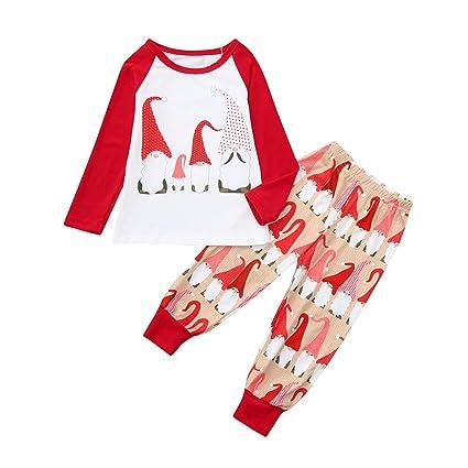 8daa3c97e4 HKDGID Christmas Family Cartoon Santa Pajamas Sets Winter Matching Family  X-mas Eve Sleepwear Nightwear Sleeptime Baby Kids Tracksuit Clothes Tops+  Pants