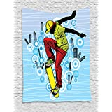 Ambesonne Youth Tapestry, Teenager Playing Skateboard on Street with Abstract City Background Circles Buildings, Wall Hanging for Bedroom Living Room Dorm, 40 W X 60 L Inches, Multicolor