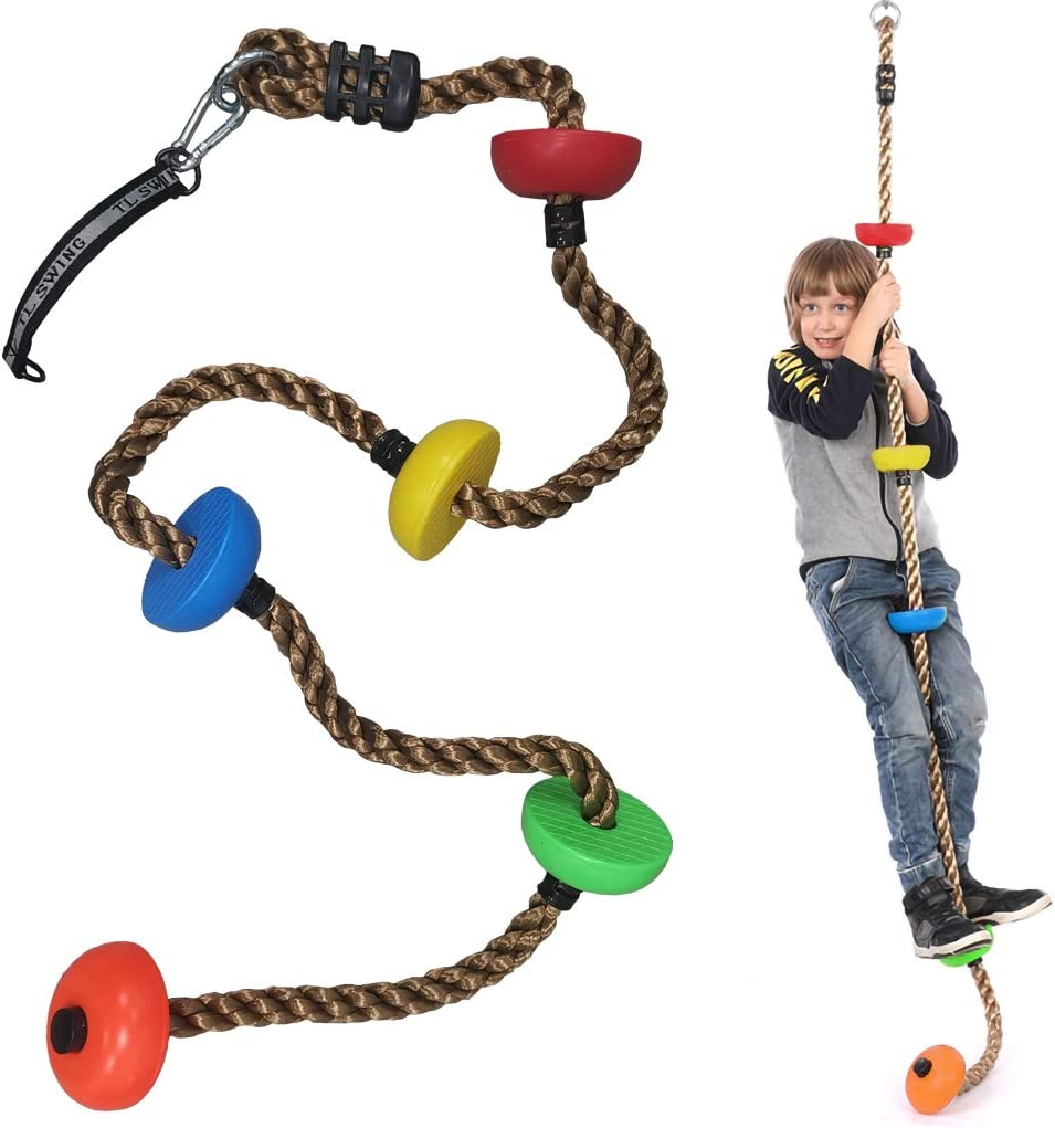 DSDecor Climbing Rope Swing for Kids 6.6Ft Hanging Rope Swing with 5 Platforms Ninja Line Swing for Indoor Outdoor Tree Playground Yard
