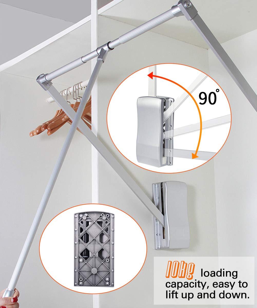 Gimify Barra Abatible Perchero Basculante para Armario Aluminio Adaptable de 83~115cm
