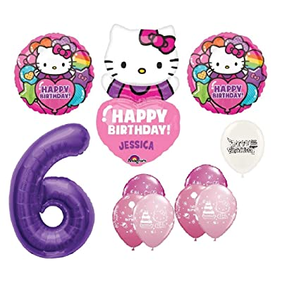 The Ultimate Personalized Hello Kitty 6th Birthday Party Event Bouquet of Balloons: Toys & Games